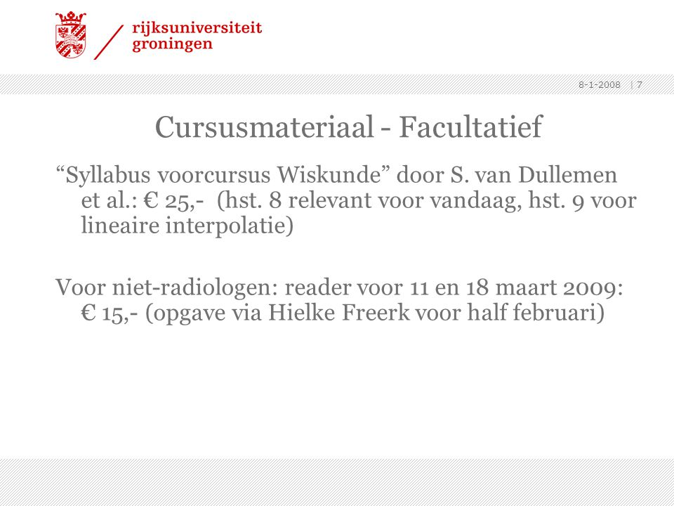 Cursusmateriaal - Facultatief