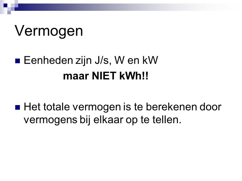 Vermogen Eenheden zijn J/s, W en kW maar NIET kWh!!