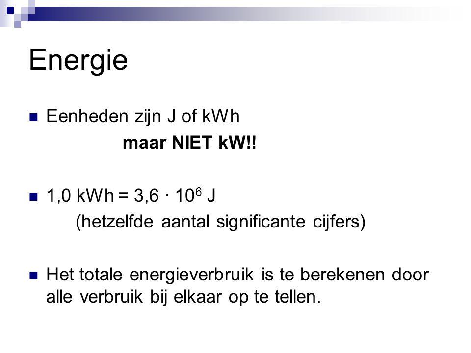 Energie Eenheden zijn J of kWh maar NIET kW!! 1,0 kWh = 3,6 ∙ 106 J