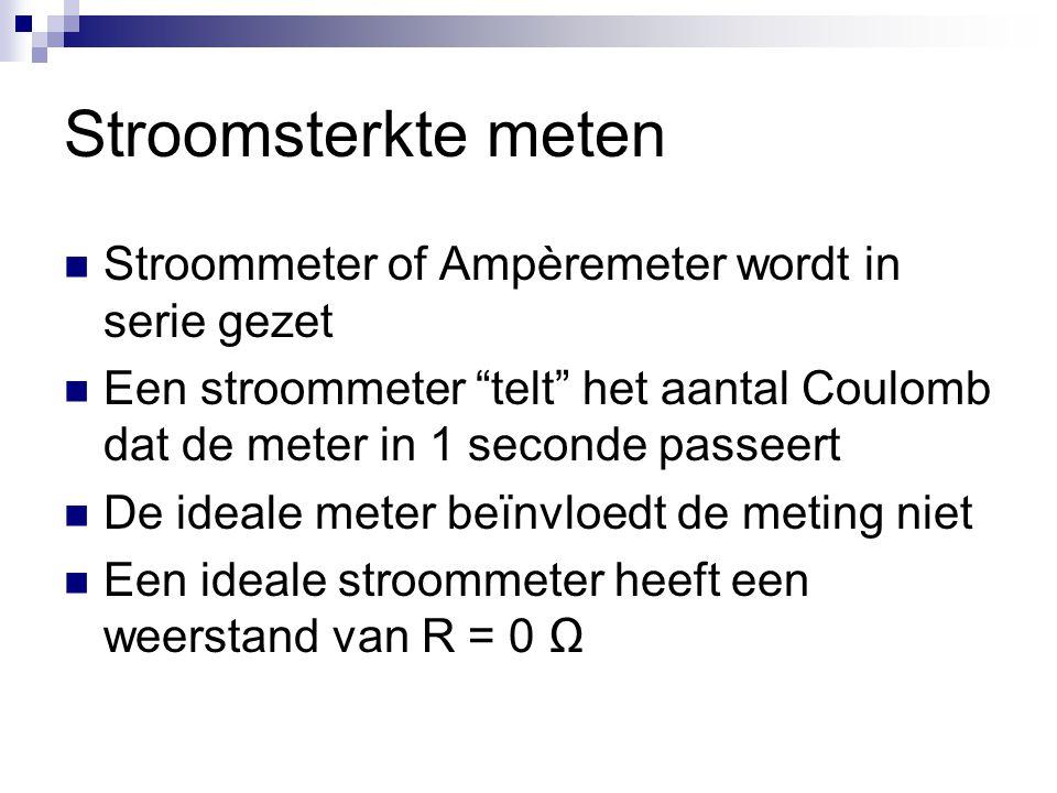 Stroomsterkte meten Stroommeter of Ampèremeter wordt in serie gezet