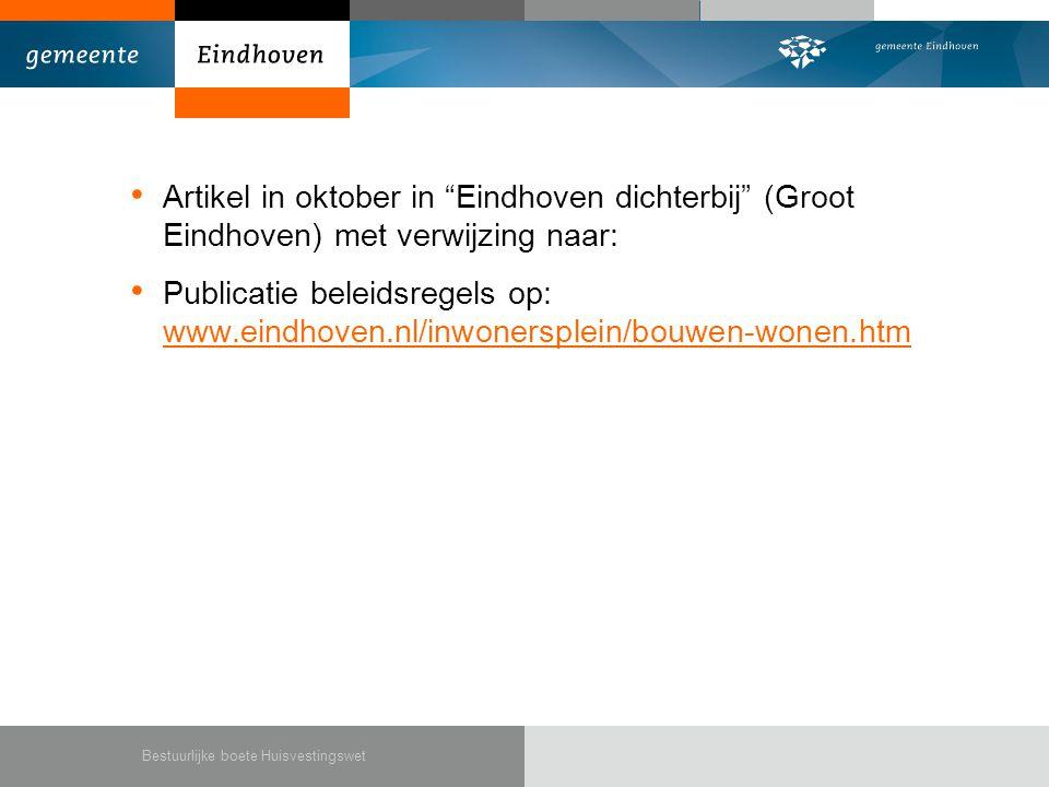 Artikel in oktober in Eindhoven dichterbij (Groot Eindhoven) met verwijzing naar:
