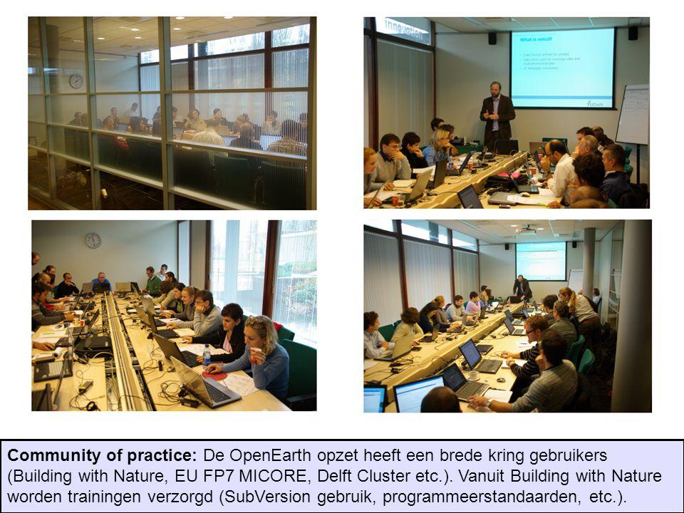 Community of practice: De OpenEarth opzet heeft een brede kring gebruikers (Building with Nature, EU FP7 MICORE, Delft Cluster etc.).