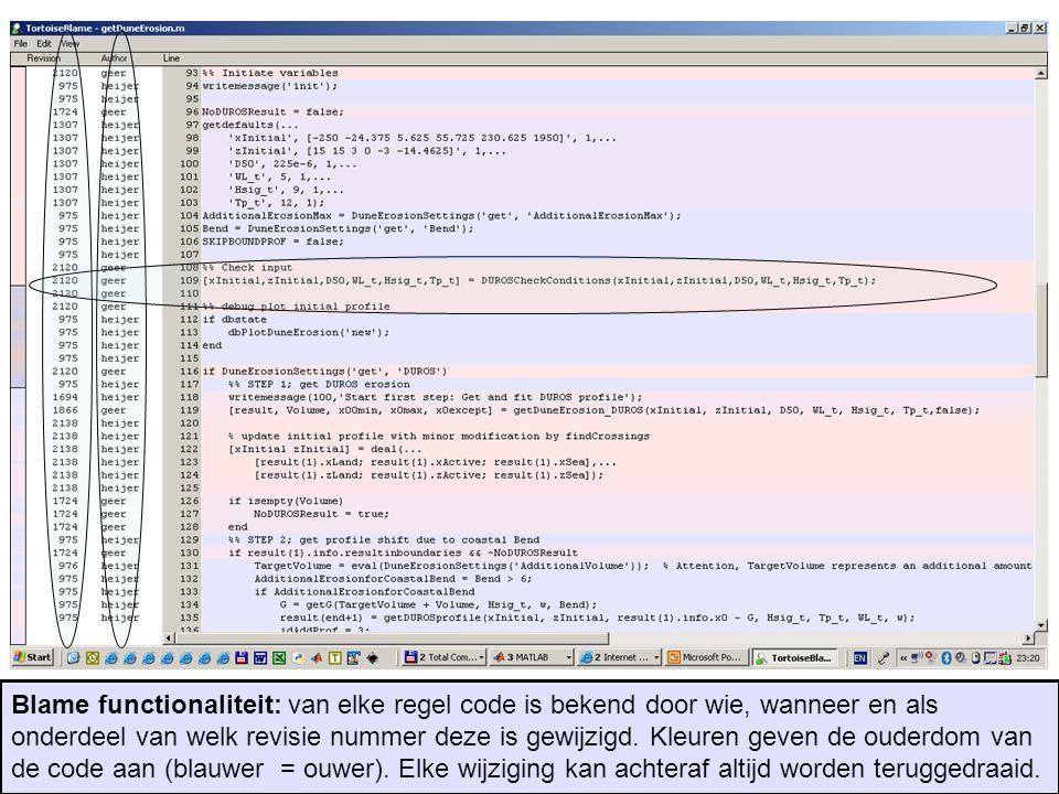 Blame functionaliteit: van elke regel code is bekend door wie, wanneer en als onderdeel van welk revisie nummer deze is gewijzigd.