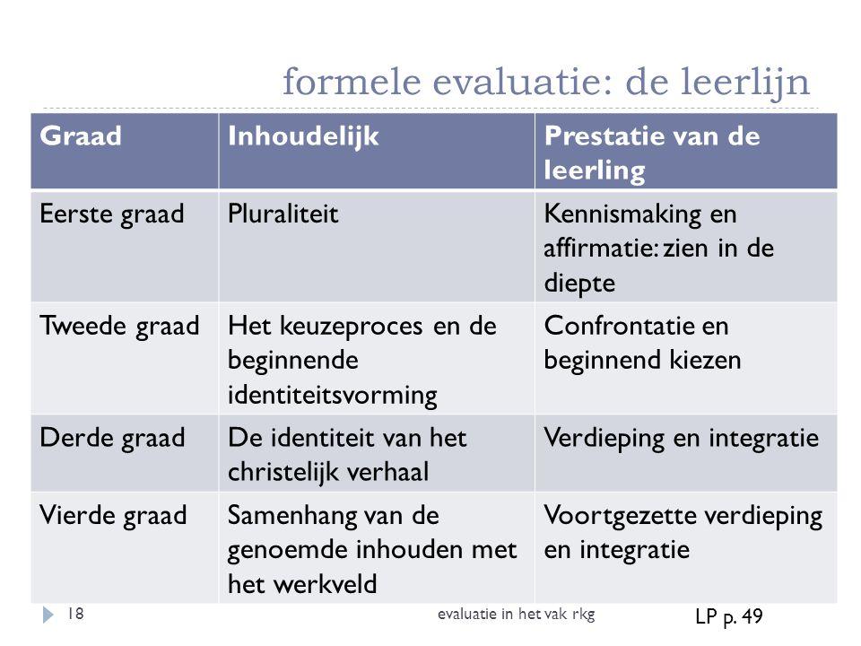 formele evaluatie: de leerlijn