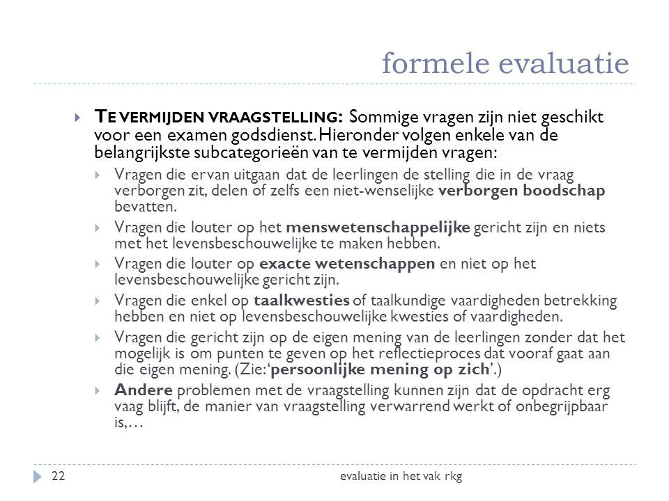 formele evaluatie