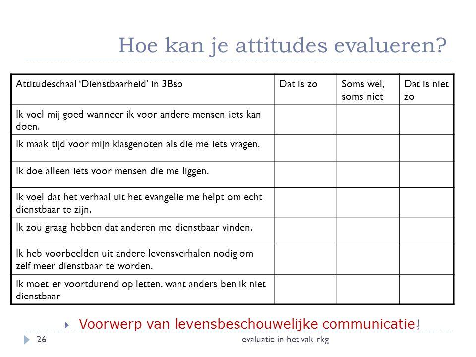 Hoe kan je attitudes evalueren