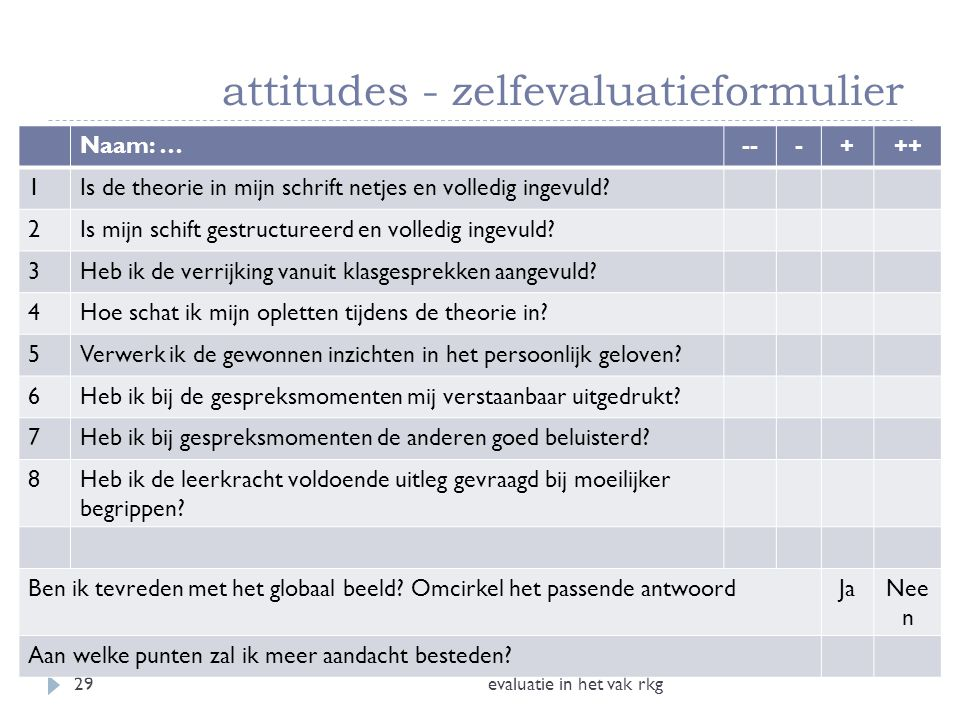 attitudes - zelfevaluatieformulier