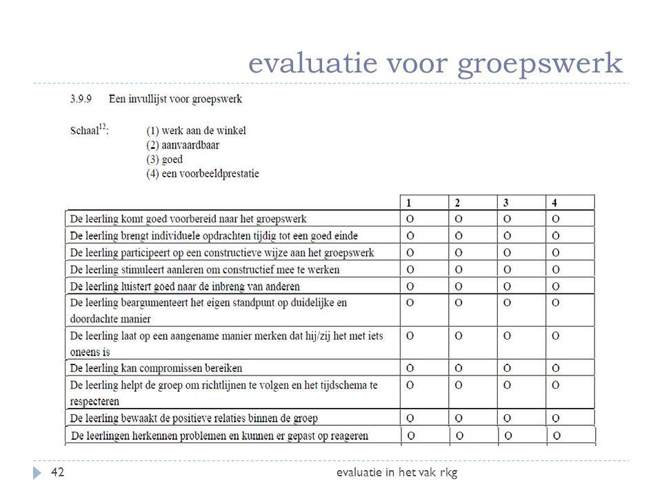 evaluatie voor groepswerk