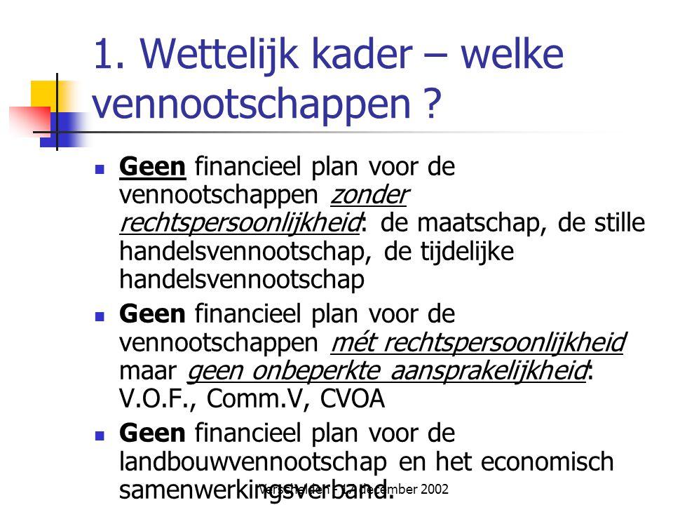 1. Wettelijk kader – welke vennootschappen