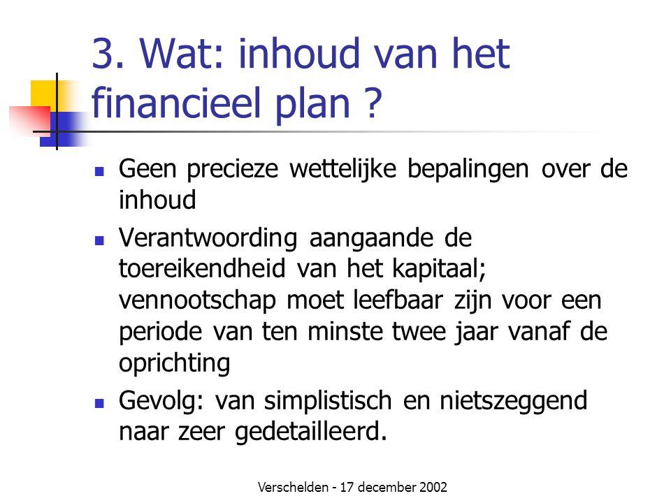3. Wat: inhoud van het financieel plan