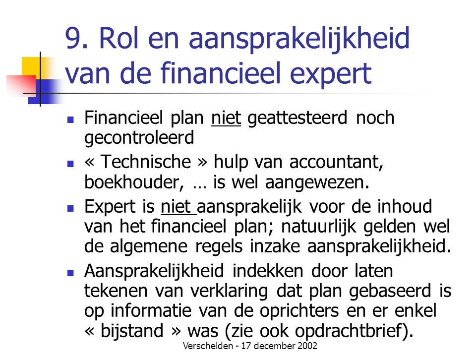9. Rol en aansprakelijkheid van de financieel expert