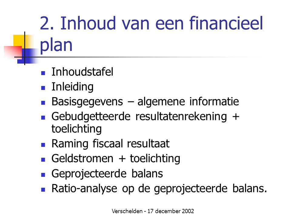 2. Inhoud van een financieel plan