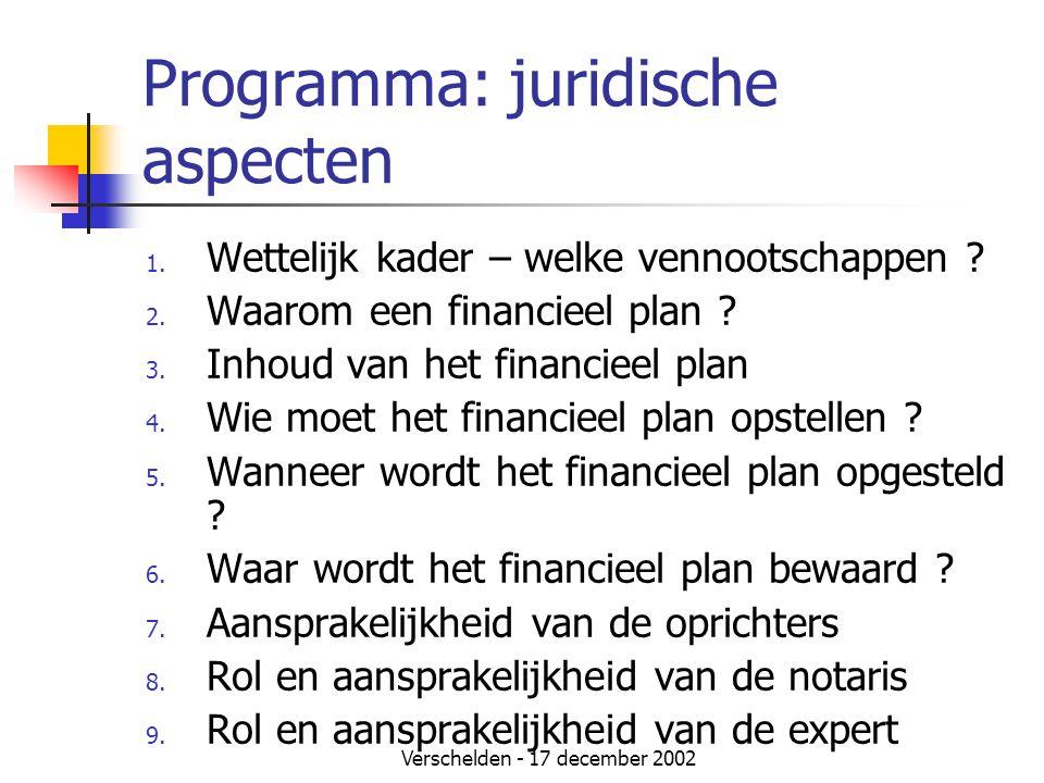 Programma: juridische aspecten