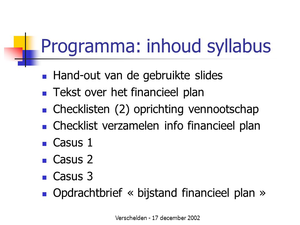 Programma: inhoud syllabus