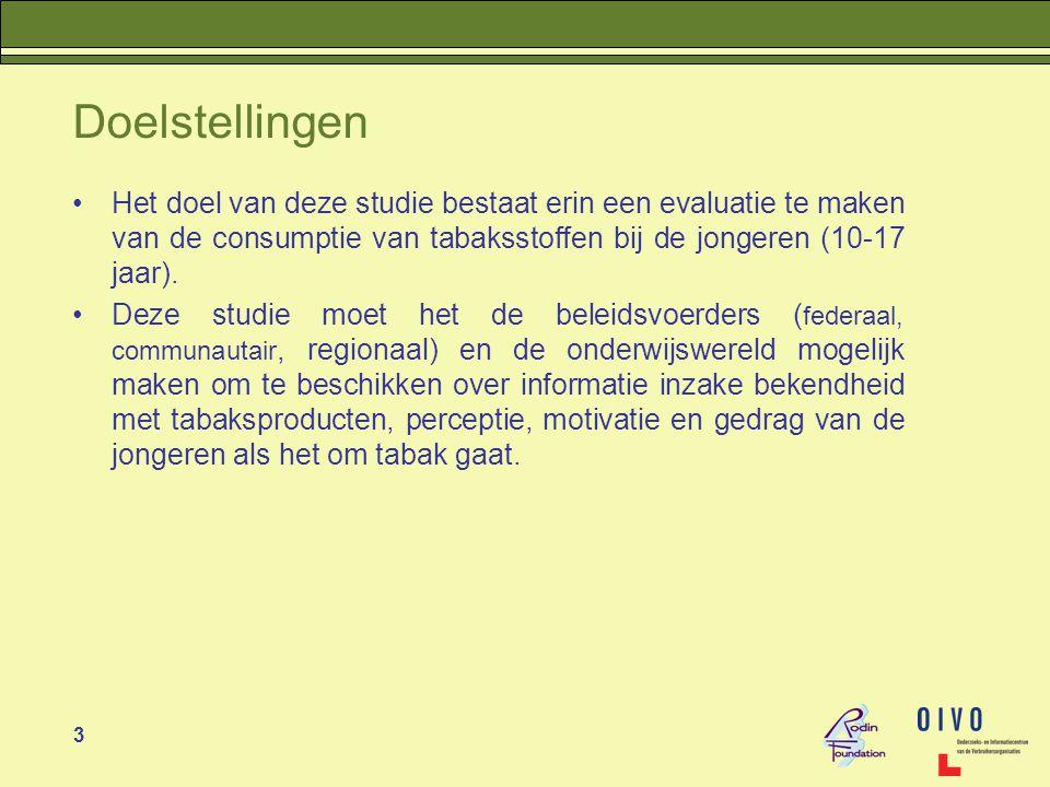 Doelstellingen Het doel van deze studie bestaat erin een evaluatie te maken van de consumptie van tabaksstoffen bij de jongeren (10-17 jaar).