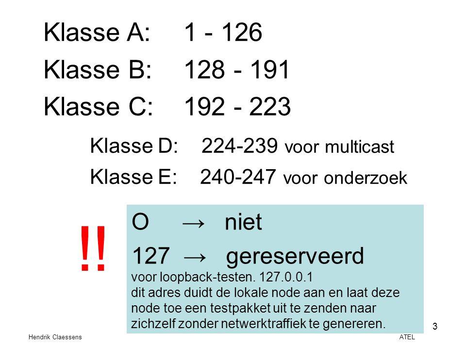 !! Klasse A: 1 - 126 Klasse B: 128 - 191 Klasse C: 192 - 223 O → niet