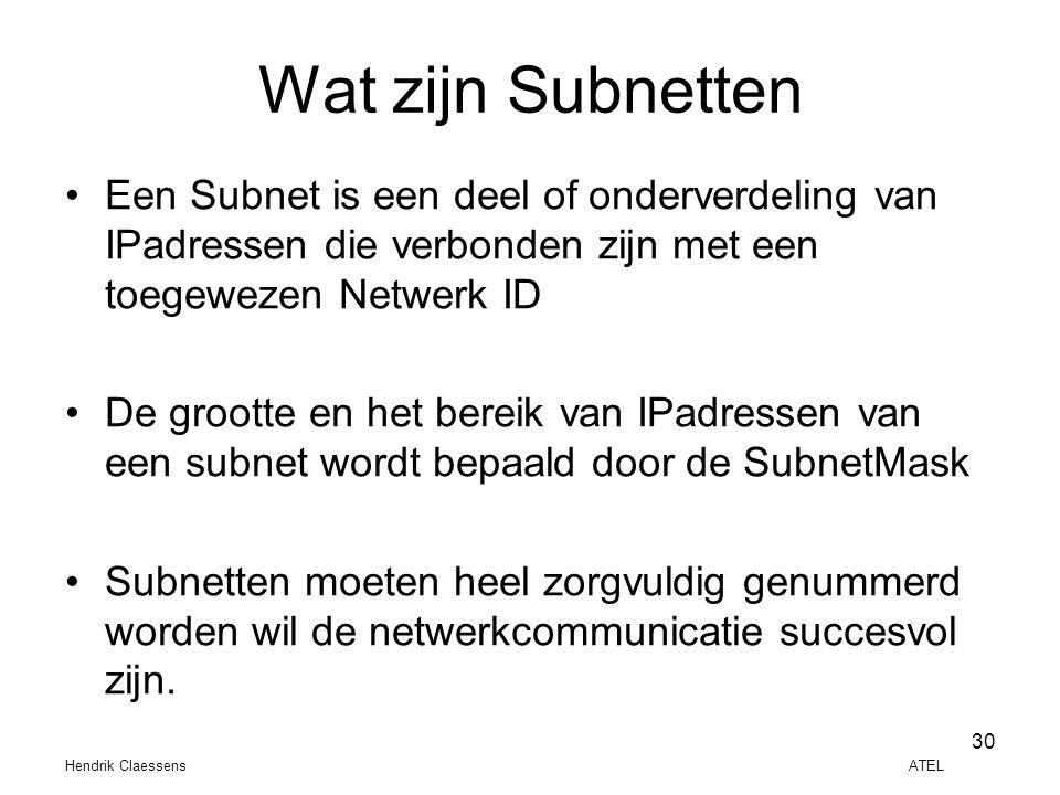 Wat zijn Subnetten Een Subnet is een deel of onderverdeling van IPadressen die verbonden zijn met een toegewezen Netwerk ID.