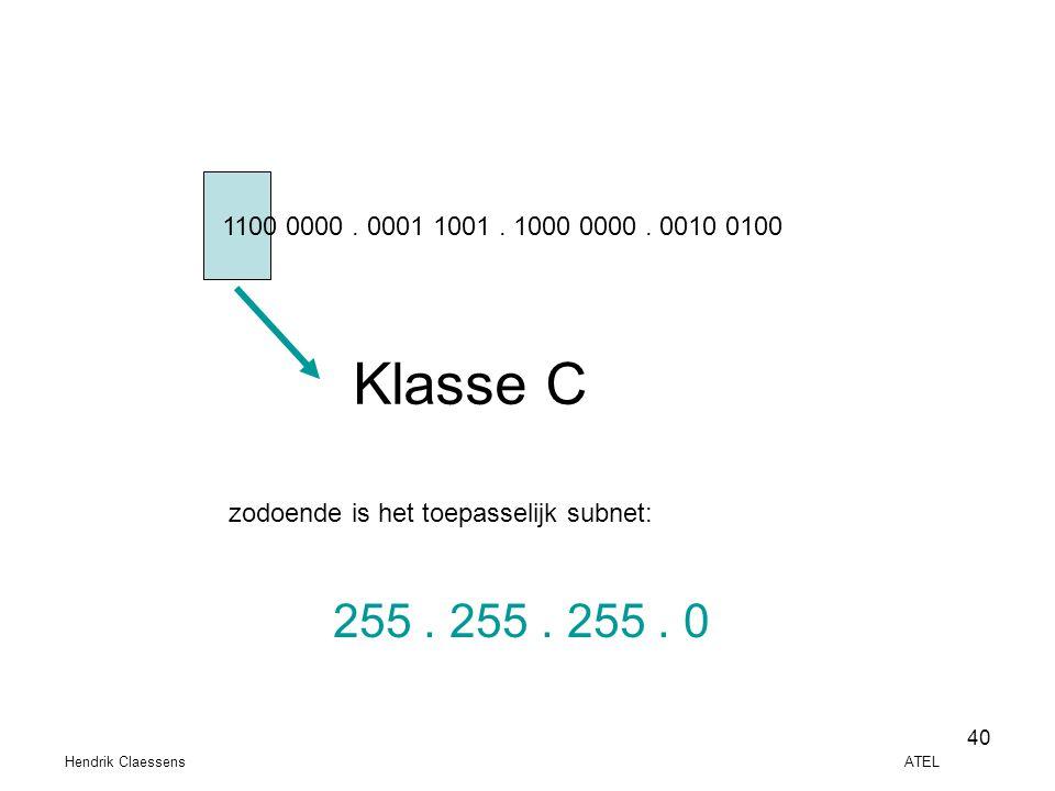 1100 0000 . 0001 1001 . 1000 0000 . 0010 0100 Klasse C. zodoende is het toepasselijk subnet: 255 . 255 . 255 . 0.