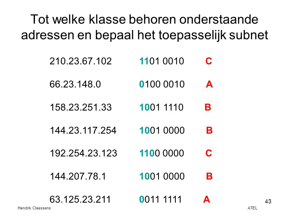 Tot welke klasse behoren onderstaande adressen en bepaal het toepasselijk subnet