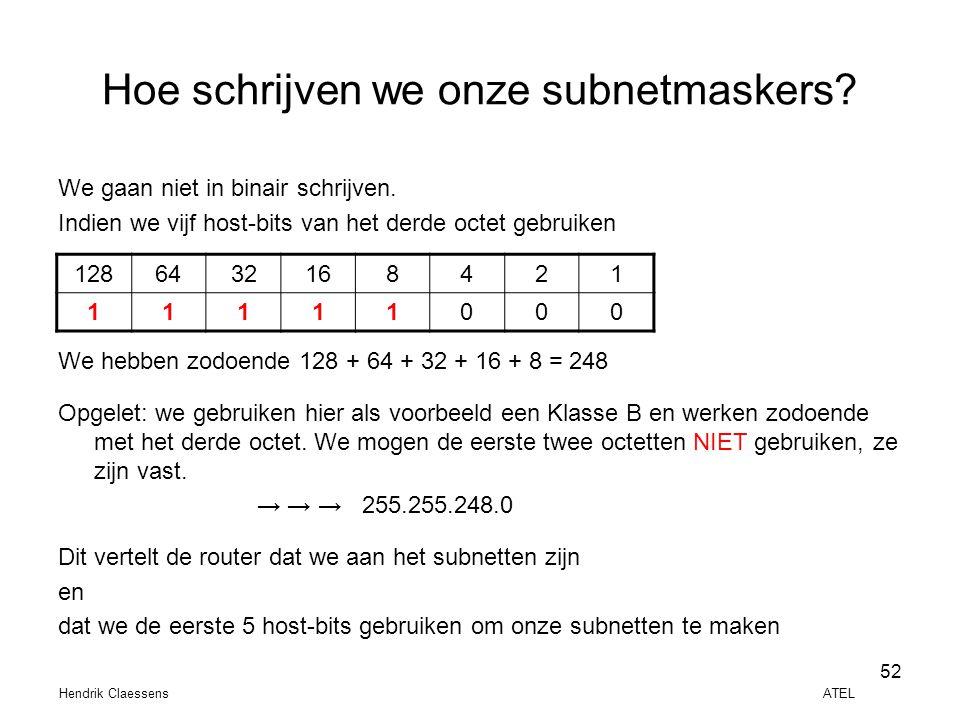 Hoe schrijven we onze subnetmaskers