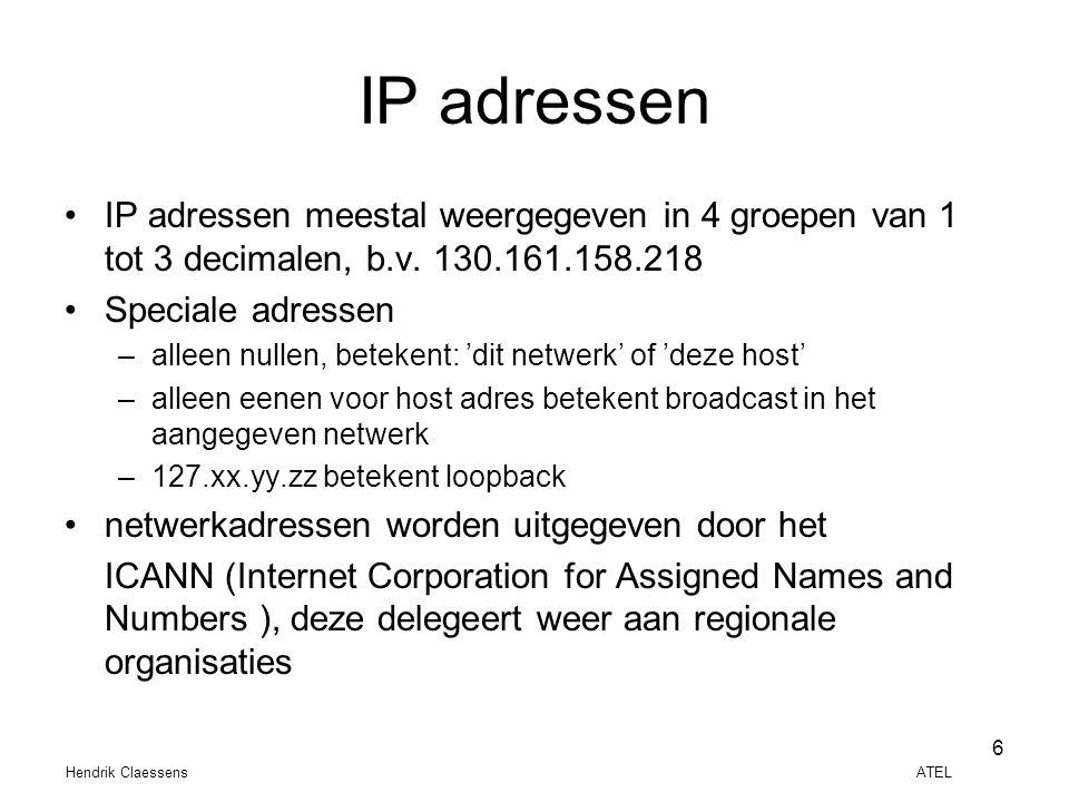 IP adressen IP adressen meestal weergegeven in 4 groepen van 1 tot 3 decimalen, b.v. 130.161.158.218.