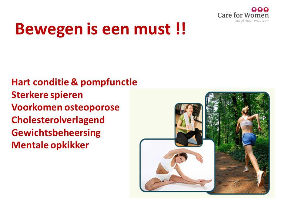 Bewegen is een must !! Hart conditie & pompfunctie Sterkere spieren