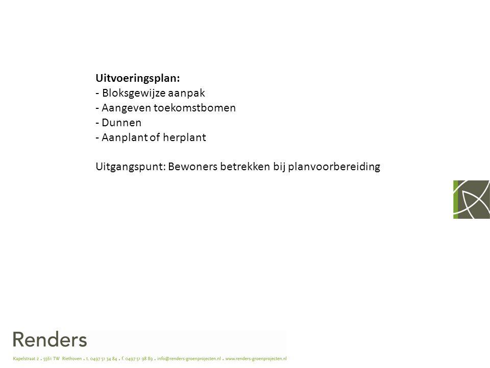 Uitvoeringsplan: - Bloksgewijze aanpak. Aangeven toekomstbomen. Dunnen. Aanplant of herplant.
