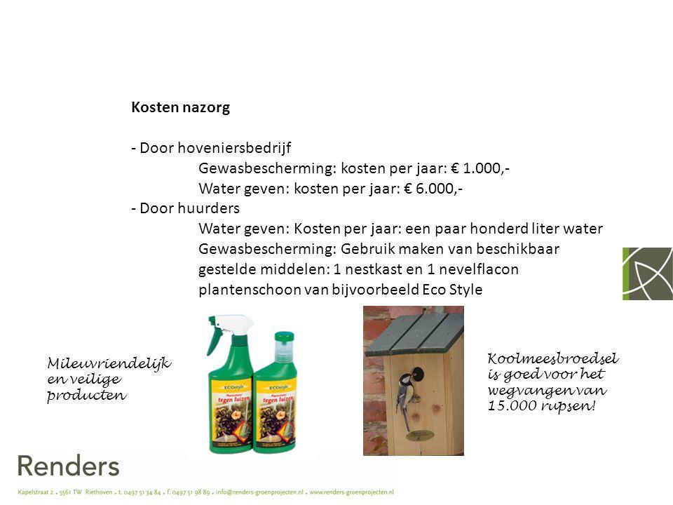 Door hoveniersbedrijf Gewasbescherming: kosten per jaar: € 1.000,-