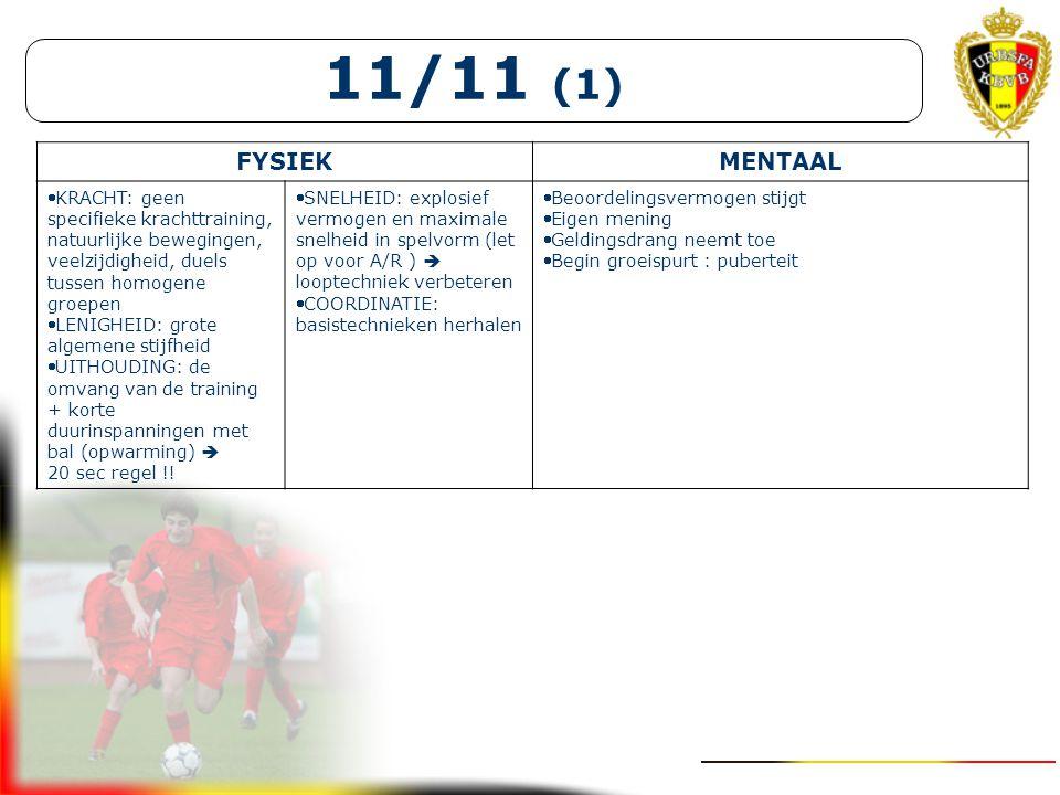 11/11 (1) FYSIEK. MENTAAL. KRACHT: geen specifieke krachttraining, natuurlijke bewegingen, veelzijdigheid, duels tussen homogene groepen.