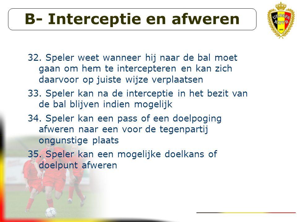 B- Interceptie en afweren