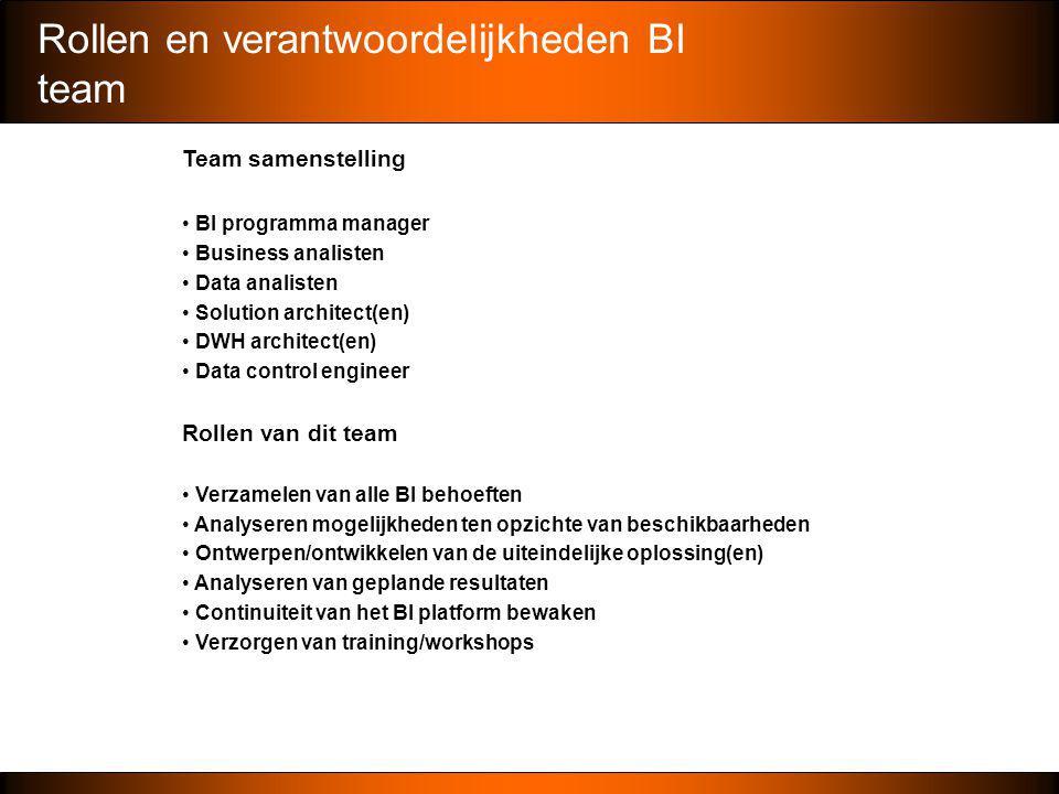 Rollen en verantwoordelijkheden BI team