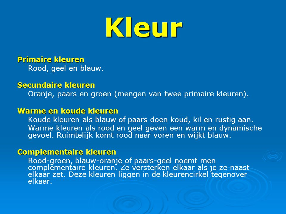 Beeldaspecten ppt video online download - Warme en koude kleuren in verf ...
