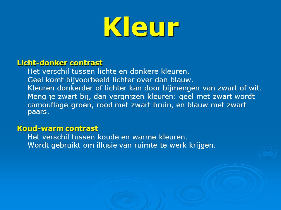 Beeldaspecten ppt video online download - Kleur warm en koud ...