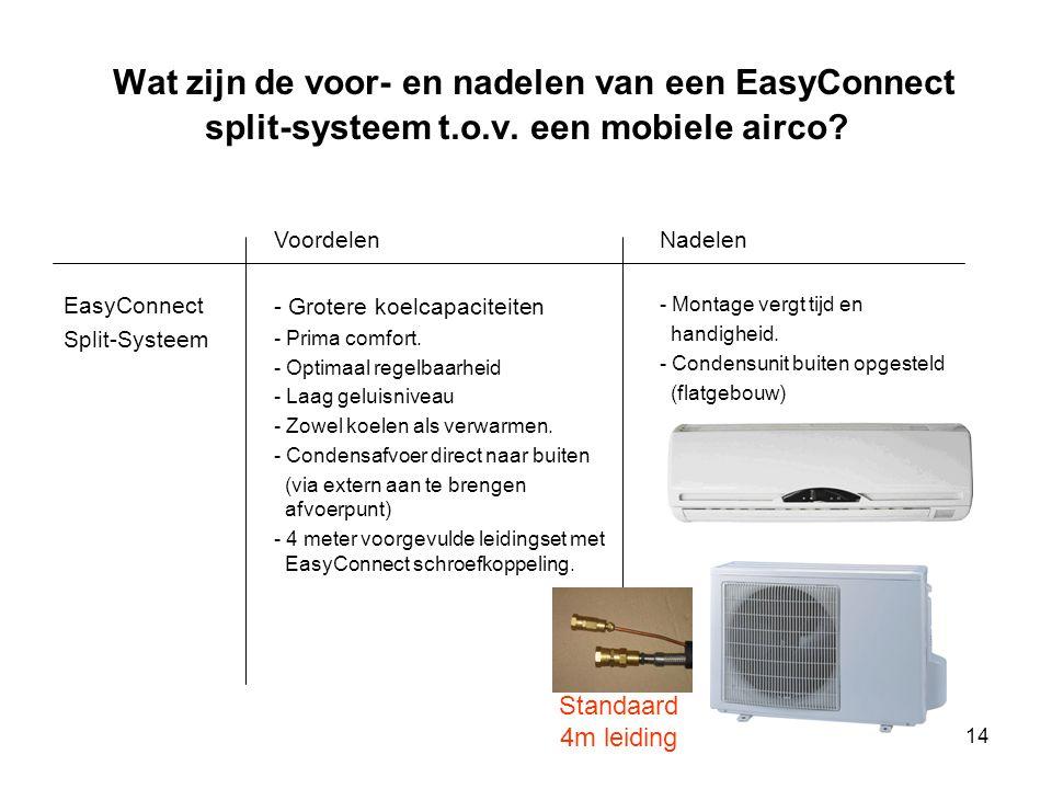 Wat zijn de voor- en nadelen van een EasyConnect split-systeem t. o. v