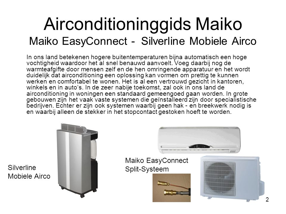Airconditioninggids Maiko Maiko EasyConnect - Silverline Mobiele Airco