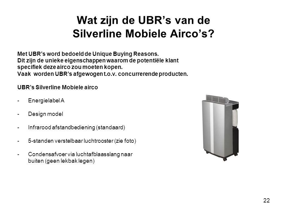 Wat zijn de UBR's van de Silverline Mobiele Airco's