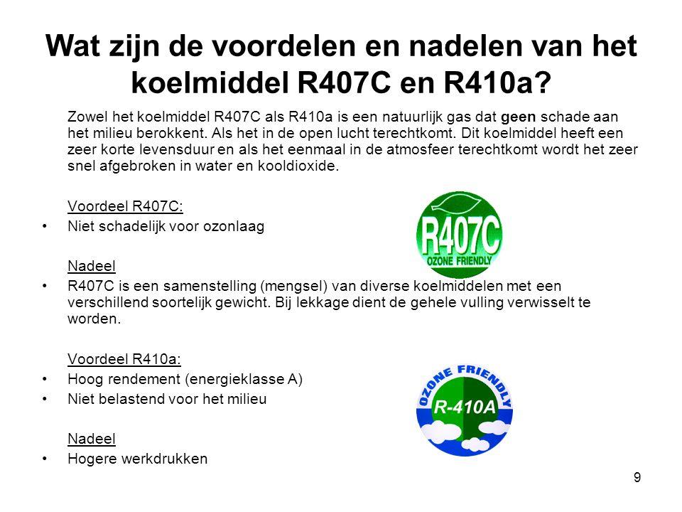 Wat zijn de voordelen en nadelen van het koelmiddel R407C en R410a