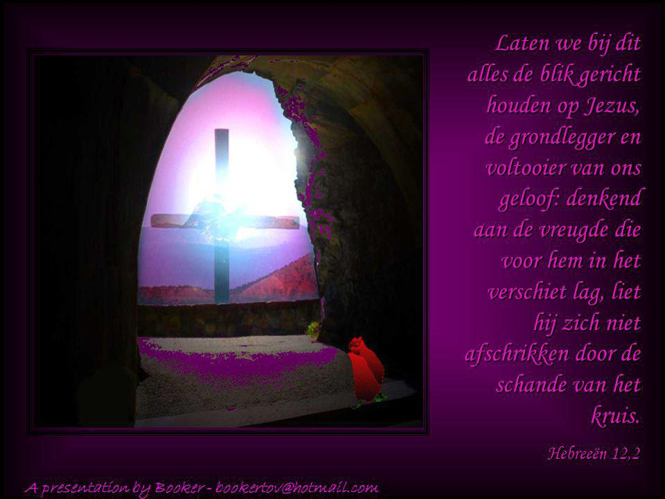 Laten we bij dit alles de blik gericht houden op Jezus, de grondlegger en voltooier van ons geloof: denkend aan de vreugde die voor hem in het verschiet lag, liet hij zich niet afschrikken door de schande van het kruis.