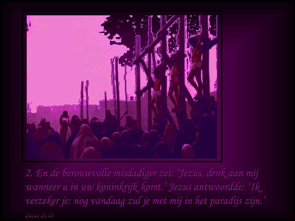 2. En de berouwvolle misdadiger zei: 'Jezus, denk aan mij wanneer u in uw koninkrijk komt.' Jezus antwoordde: 'Ik verzeker je: nog vandaag zul je met mij in het paradijs zijn.'