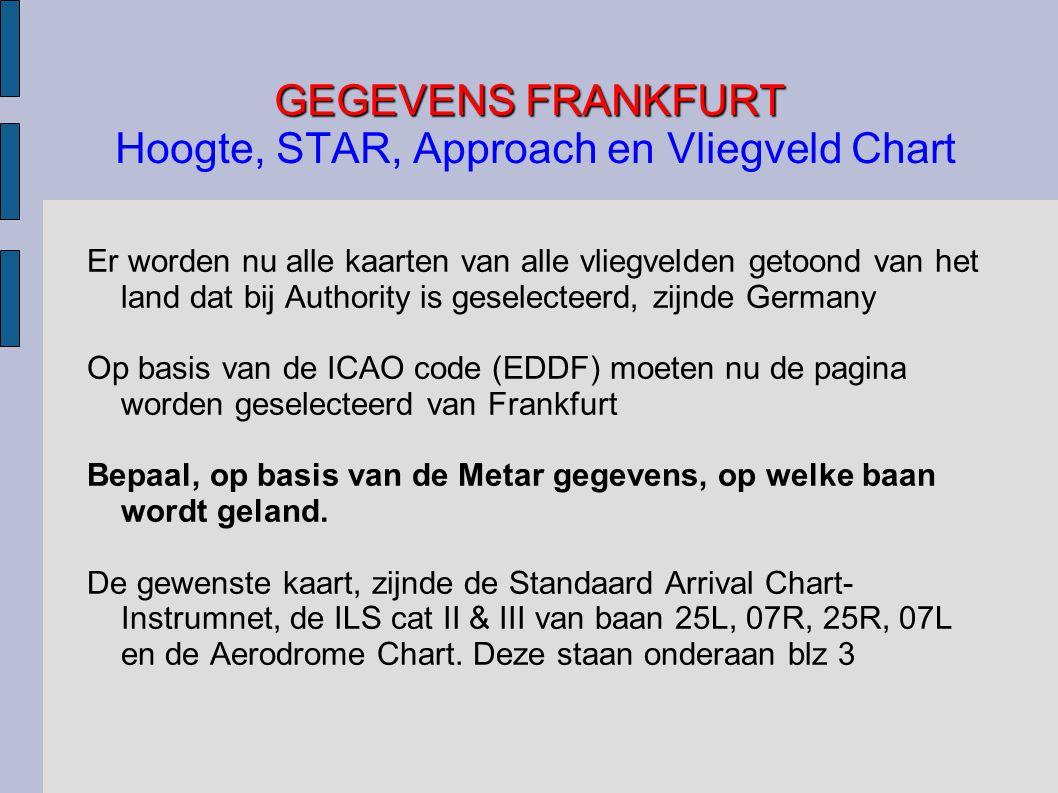 GEGEVENS FRANKFURT Hoogte, STAR, Approach en Vliegveld Chart