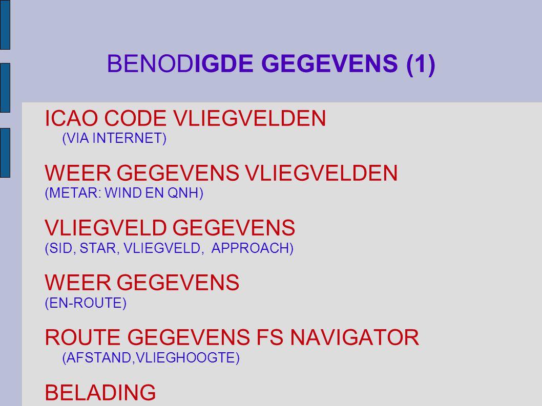 BENODIGDE GEGEVENS (1) ICAO CODE VLIEGVELDEN (VIA INTERNET)