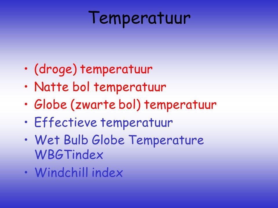 Temperatuur (droge) temperatuur Natte bol temperatuur