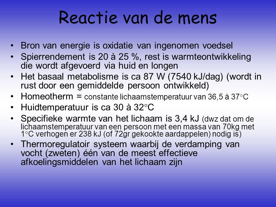 Reactie van de mens Bron van energie is oxidatie van ingenomen voedsel