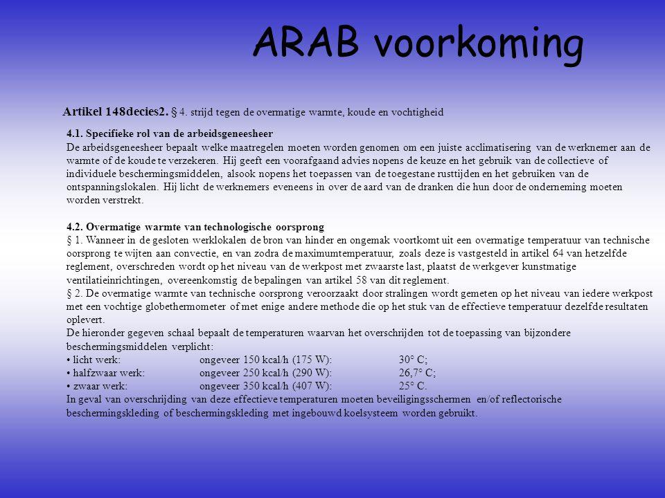 ARAB voorkoming Artikel 148decies2. § 4. strijd tegen de overmatige warmte, koude en vochtigheid. 4.1. Specifieke rol van de arbeidsgeneesheer.