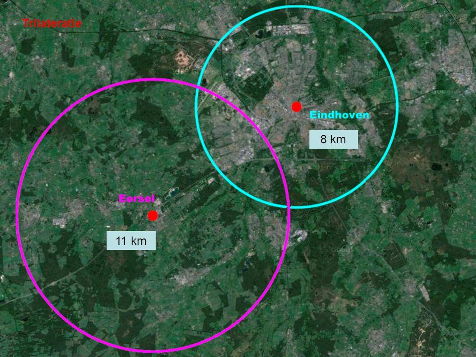 Trilateratie 8 km 11 km