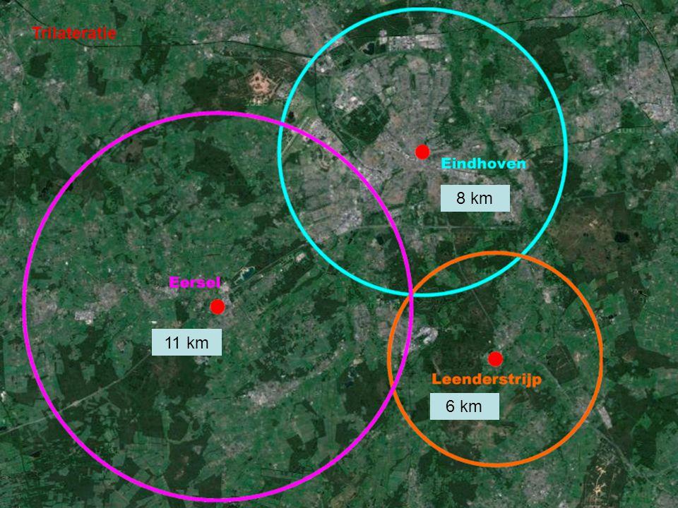 Trilateratie 8 km 11 km 6 km