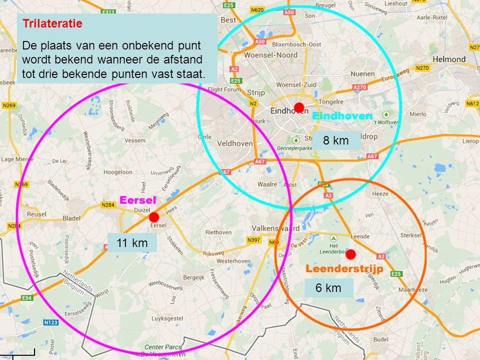 Trilateratie De plaats van een onbekend punt wordt bekend wanneer de afstand tot drie bekende punten vast staat.