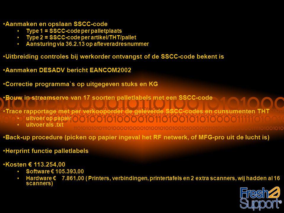 Aanmaken en opslaan SSCC-code