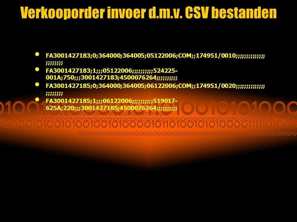 Verkooporder invoer d.m.v. CSV bestanden