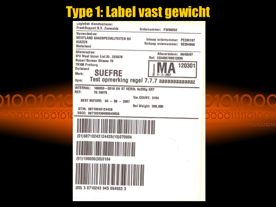 Type 1: Label vast gewicht